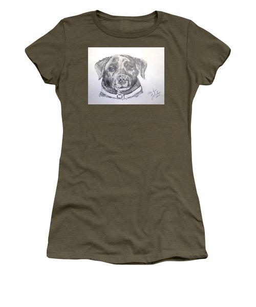 Big Black Dog Women's T-Shirt (Junior Cut) by Marilyn Zalatan