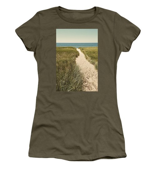 Women's T-Shirt (Athletic Fit) featuring the photograph Big Lake Beach Path by Michelle Calkins