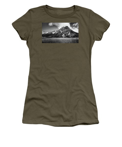 Big Snowy Mountain In Black And White Women's T-Shirt
