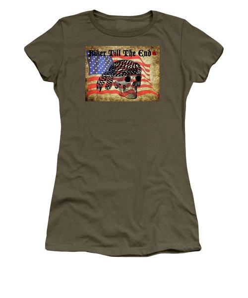 Biker Skull American Flag Old Paper Art Women's T-Shirt (Athletic Fit)