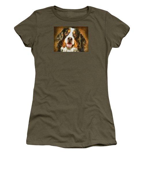 Women's T-Shirt (Junior Cut) featuring the painting Bimbo - Bernese Mountain Dog by Dragica  Micki Fortuna