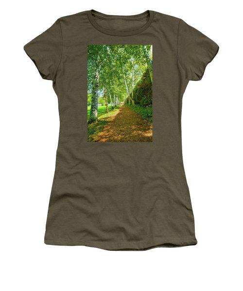 Women's T-Shirt (Junior Cut) featuring the photograph Birch Gauntlet by Greg Fortier