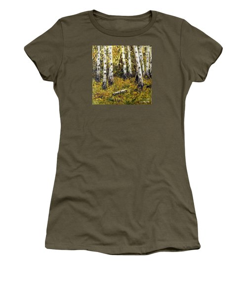 Women's T-Shirt (Junior Cut) featuring the painting Birches by Arturas Slapsys