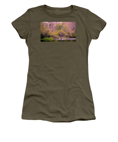 Women's T-Shirt (Junior Cut) featuring the photograph Birds Playing In The Pond 2 by Madeline Ellis