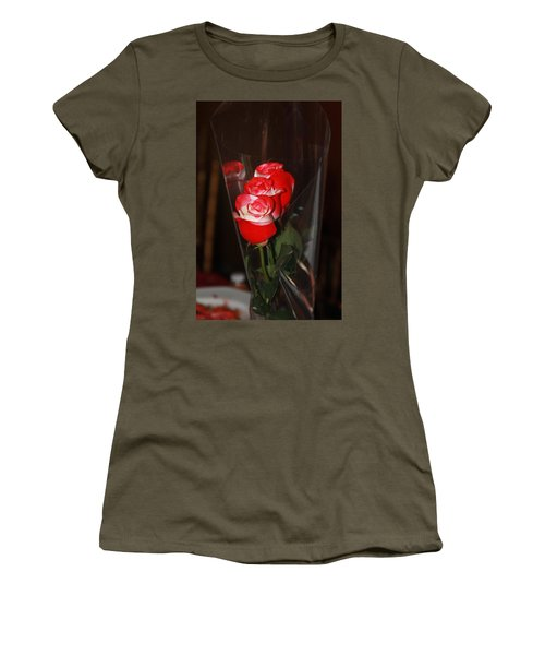 Women's T-Shirt (Athletic Fit) featuring the photograph Birthday Roses by Vadim Levin