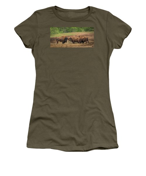 Women's T-Shirt (Athletic Fit) featuring the photograph Bison 2 by Joye Ardyn Durham