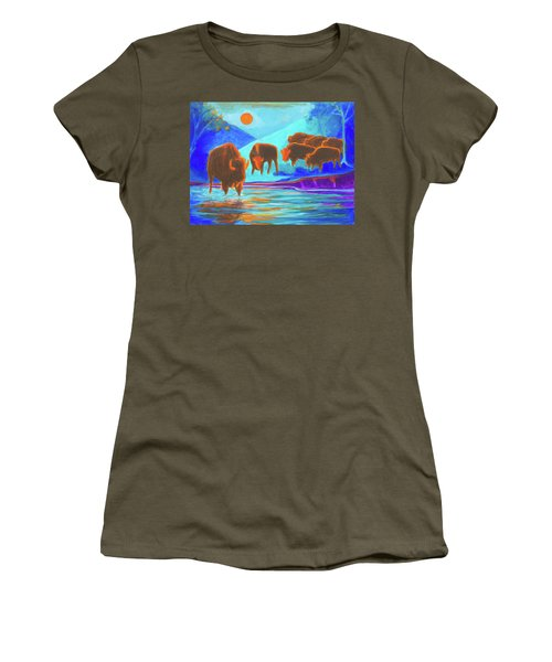 Bison Art - Seven Bison At Sunrise Yosemite Painting T Bertram Poole Women's T-Shirt (Athletic Fit)