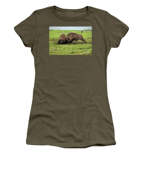Bison Fighting Women's T-Shirt (Junior Cut) by Cindy Murphy - NightVisions