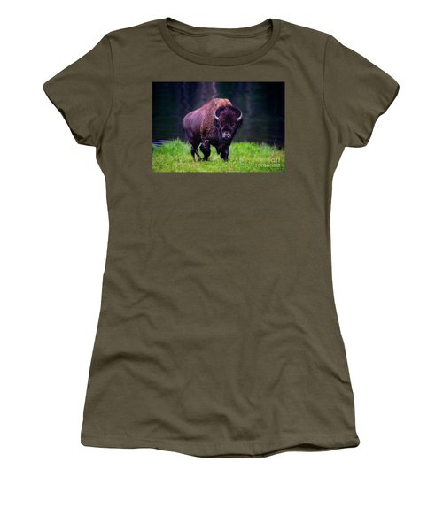 Bison Of Yellowstone Women's T-Shirt (Junior Cut) by Jim  Hatch