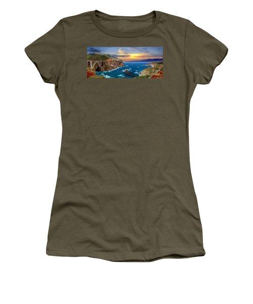 Women's T-Shirt (Junior Cut) featuring the photograph Bixby Creek Bridge by David Zanzinger