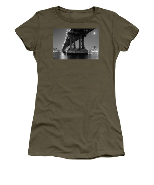 Women's T-Shirt featuring the photograph Black And White - Manhattan Bridge At Night by Gary Heller