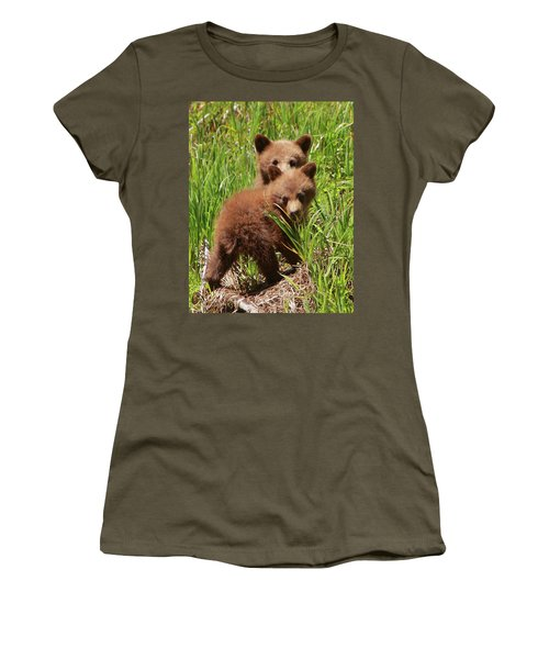 Black Bear Cubs Women's T-Shirt (Athletic Fit)