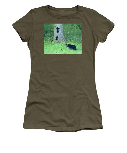 Black Bear Sow And Four Cubs Women's T-Shirt (Athletic Fit)