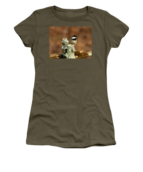 Black-capped Chickadee And Frog Women's T-Shirt (Junior Cut) by Sheila Brown