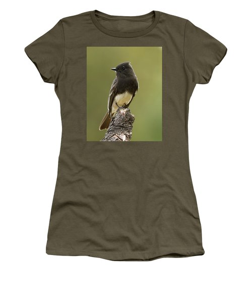 Women's T-Shirt (Junior Cut) featuring the photograph Black Phoebe by Doug Herr