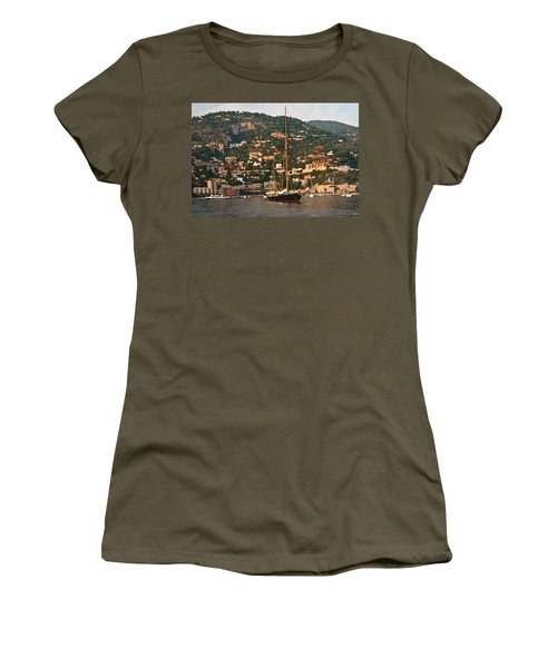 Black Sailboat At Villefranche II Women's T-Shirt (Athletic Fit)