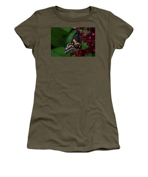 Women's T-Shirt (Junior Cut) featuring the photograph Black Swallowtail Butterfly by Jay Stockhaus