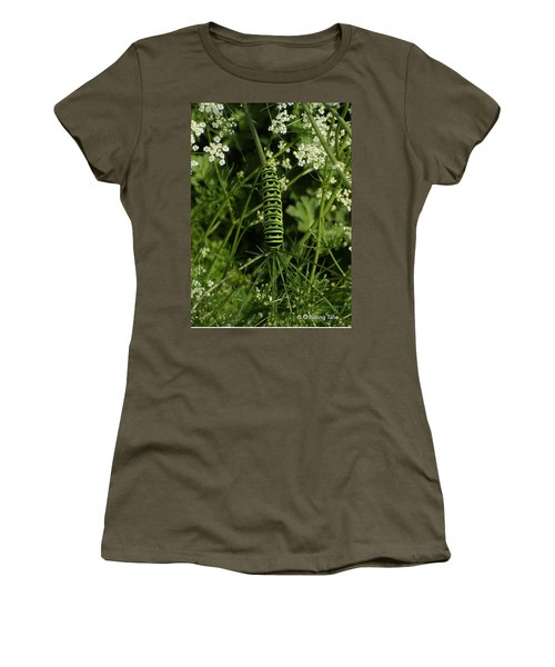 Women's T-Shirt (Athletic Fit) featuring the painting Black Swallowtail Butteryfly Caterpillar by Chholing Taha