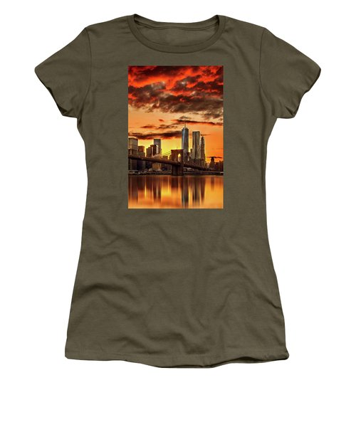 Blazing Manhattan Skyline Women's T-Shirt