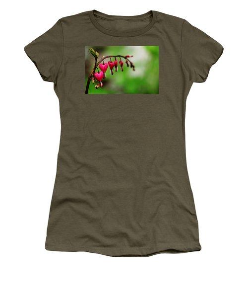 Women's T-Shirt (Junior Cut) featuring the photograph Bleeding Hearts Flower Of Romance by Debbie Oppermann