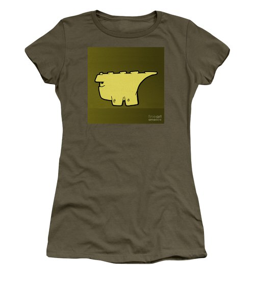 Women's T-Shirt (Junior Cut) featuring the digital art Blockasaurus by Uncle J's Monsters