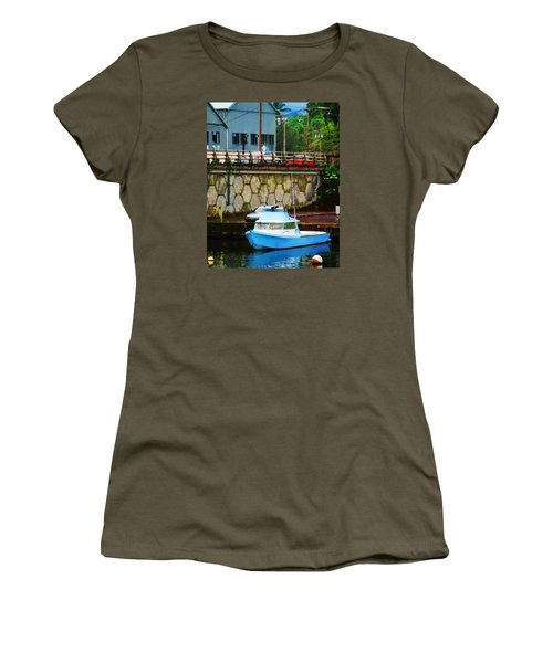 Blue Boat By The Mamalahoa Highway Women's T-Shirt (Junior Cut) by Timothy Bulone