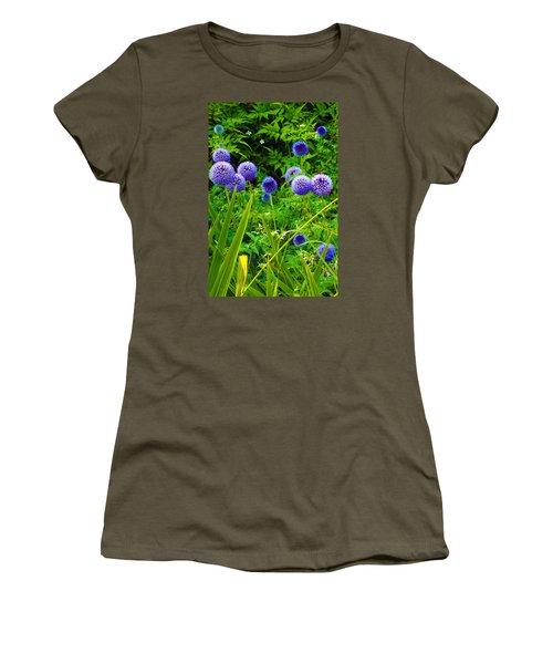 Blue Allium Flowers Women's T-Shirt (Junior Cut) by Judi Saunders