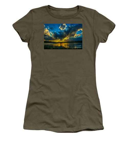 Blue And Gold Sunset With Rays Women's T-Shirt (Athletic Fit)