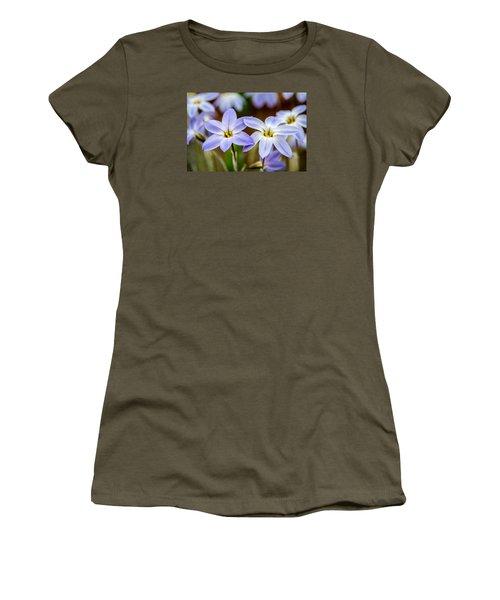 Blue And White Flowers  Women's T-Shirt (Junior Cut) by Martina Fagan