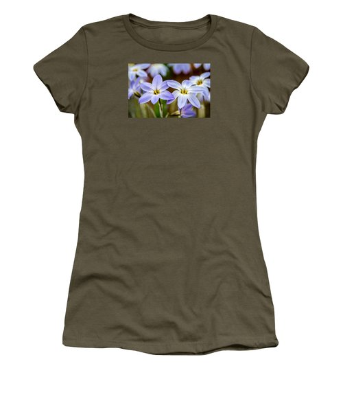 Blue And White Flowers  Women's T-Shirt (Athletic Fit)