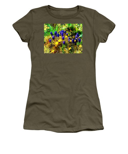 Blue And Yellow Wild Flower Medley Women's T-Shirt (Athletic Fit)