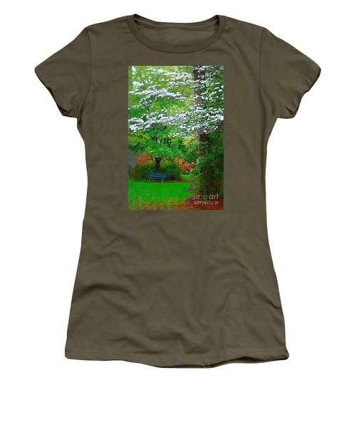 Women's T-Shirt (Junior Cut) featuring the photograph Blue Bench In Park by Donna Bentley