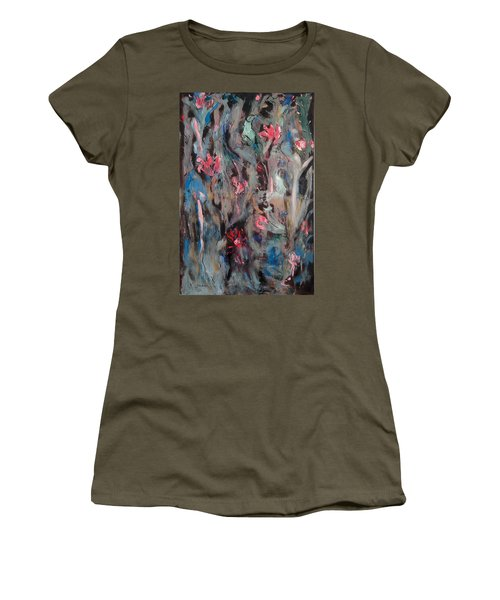 Blue Bird In Flower Garden Women's T-Shirt