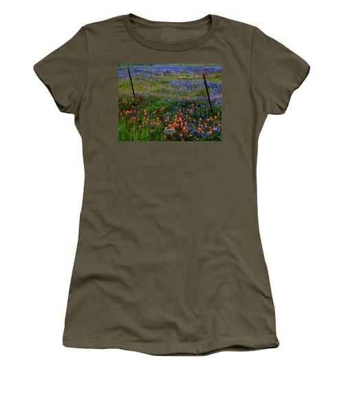 Women's T-Shirt (Junior Cut) featuring the photograph Bluebonnets #0487 by Barbara Tristan