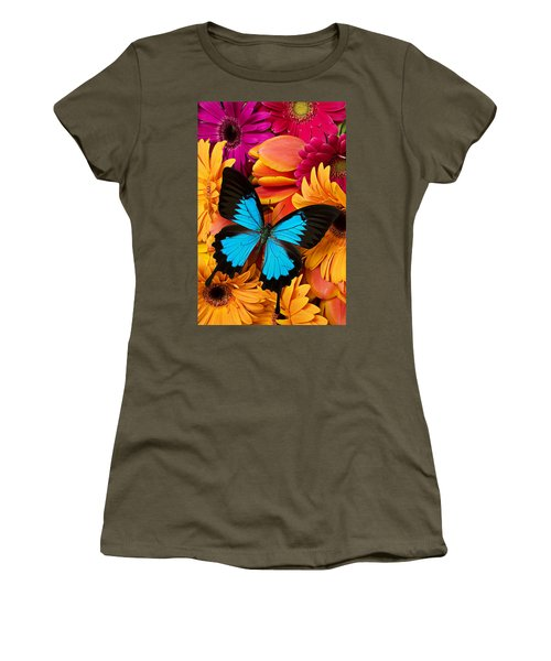 Blue Butterfly On Brightly Colored Flowers Women's T-Shirt