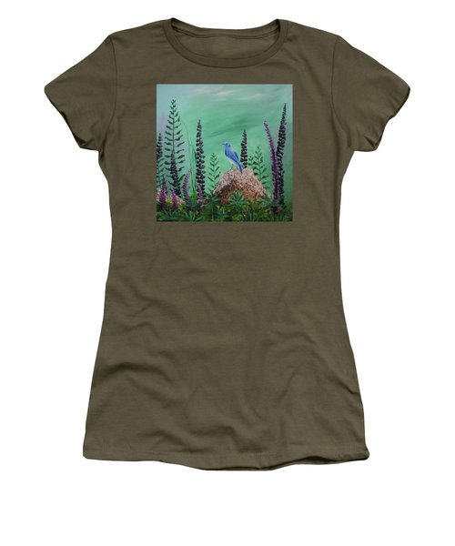 Blue Chickadee Standing On A Rock 2 Women's T-Shirt (Athletic Fit)