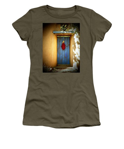 Blue Door With Chiles Women's T-Shirt (Junior Cut) by Joseph Frank Baraba