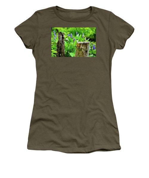 Blue Flowers And Artistic Logs Women's T-Shirt