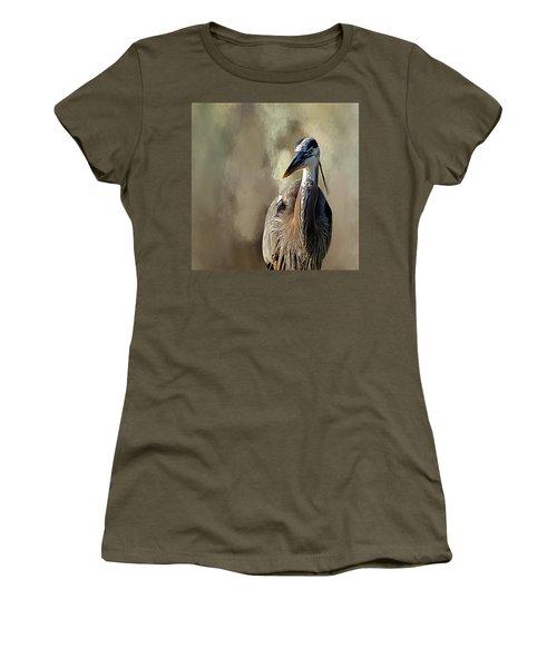 Blue Heron Women's T-Shirt (Junior Cut) by Cyndy Doty