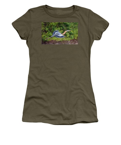 Women's T-Shirt (Junior Cut) featuring the photograph Blue Heron Flight by Shari Jardina