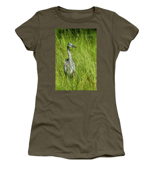 Women's T-Shirt (Junior Cut) featuring the photograph Blue Heron In A Marsh by Paul Freidlund