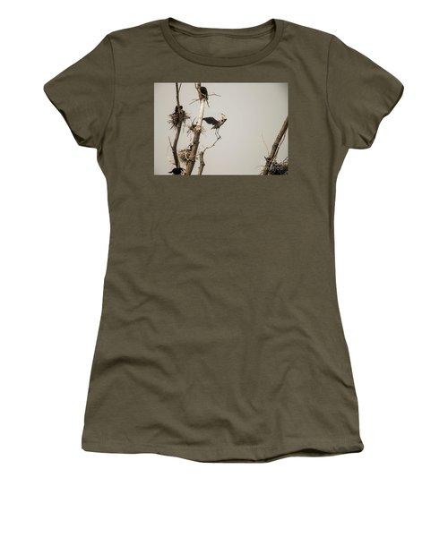 Women's T-Shirt (Junior Cut) featuring the photograph Blue Heron Posing by David Bearden