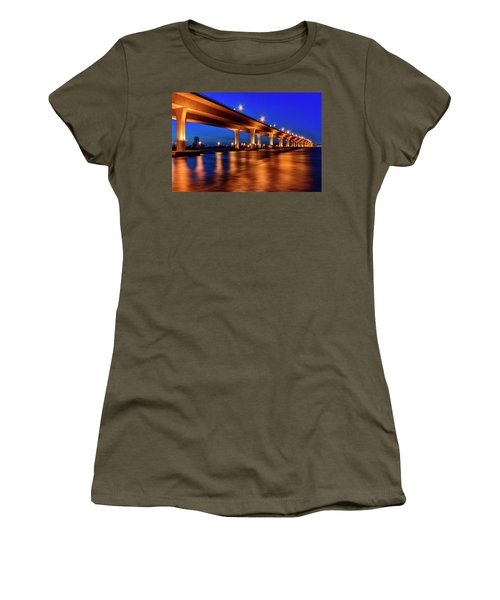 Blue Hour At Roosevelt Bridge In Stuart Florida  Women's T-Shirt (Junior Cut) by Justin Kelefas
