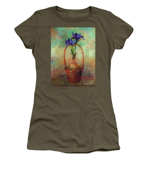Women's T-Shirt (Athletic Fit) featuring the digital art Blue Iris In A Basket by Lois Bryan