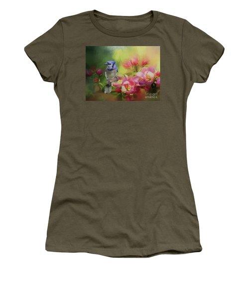 Blue Jay On A Blooming Tree Women's T-Shirt (Junior Cut) by Eva Lechner
