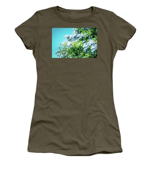 Blue Plumbago Maui Hawaii Women's T-Shirt (Junior Cut) by Sharon Mau