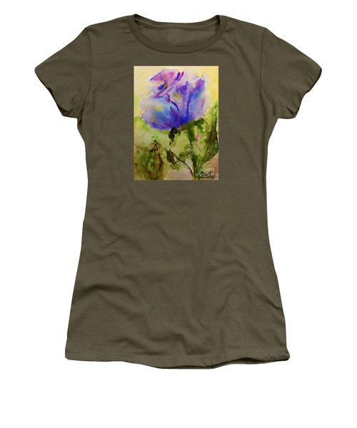 Women's T-Shirt (Junior Cut) featuring the painting Blue Rose Watercolor by AmaS Art