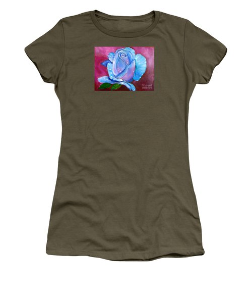 Blue Rose With Dew Drops Women's T-Shirt (Athletic Fit)