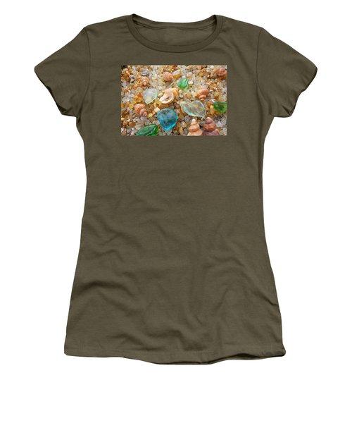 Blue Sea Glass Art Prints Rock Garden Shells Agates Women's T-Shirt