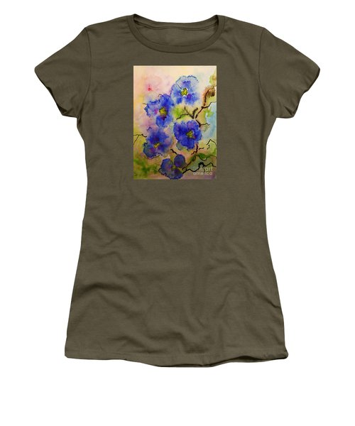 Women's T-Shirt (Junior Cut) featuring the painting Blue Spring Flowers Watercolor by AmaS Art